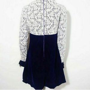 Vintage Dresses - 60s 70s mod glam crochet lace velvet mini dress